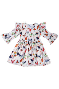 Multicolor hen print ruffle dress CXQZ-580414