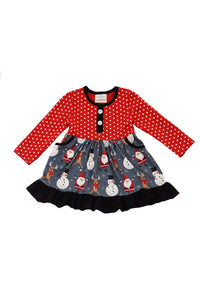 Red polkadot snowman print dress CXQZ-580490