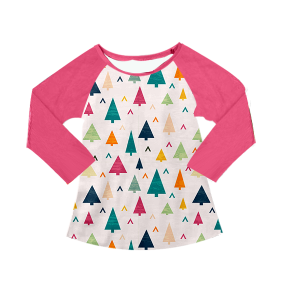 Pink Holiday Alpine Christmas Trees Long Sleeved Shirt [PREORDER]