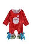 Red polkadot baby romper santa applique 809128
