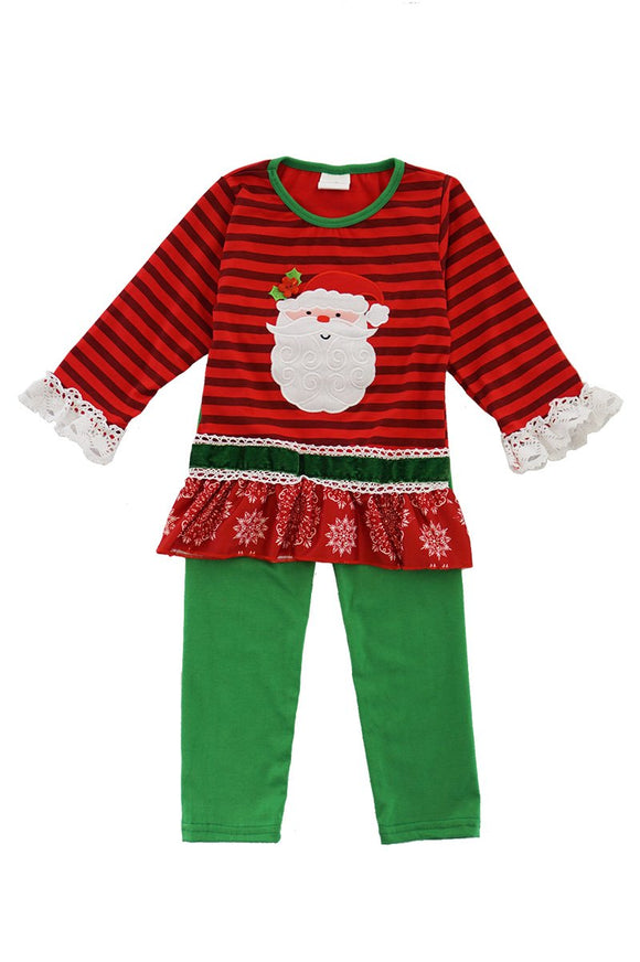 Red green stripe Santa applique ruffle set 809151
