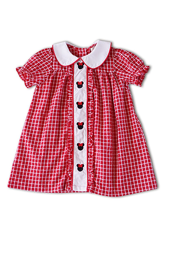 Disney Minnie Mouse embroidery red plaid dress 900013 sale