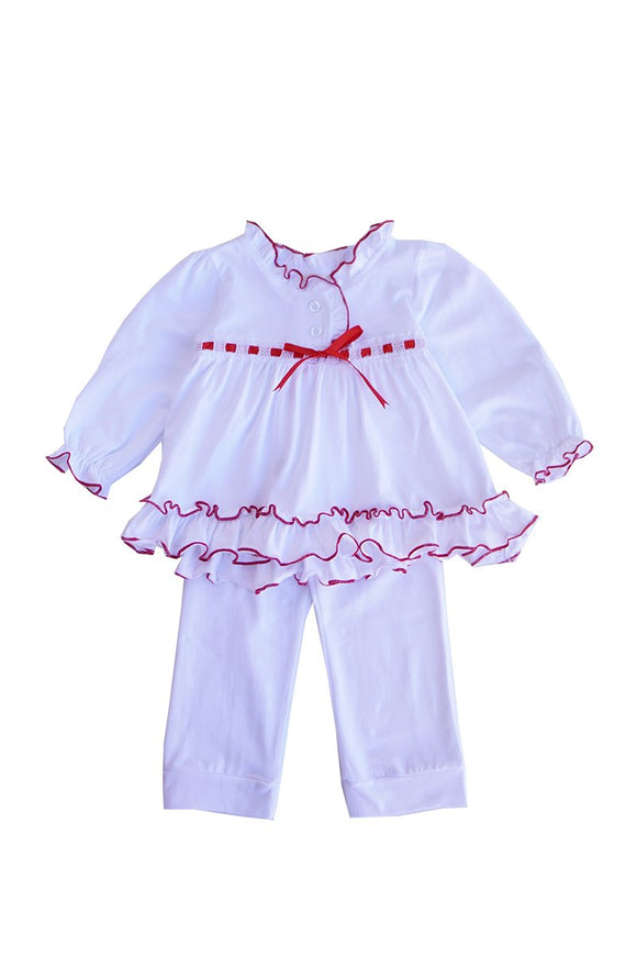 White ruffle lace girls top & pants sleep set gown pajama 900051 sale