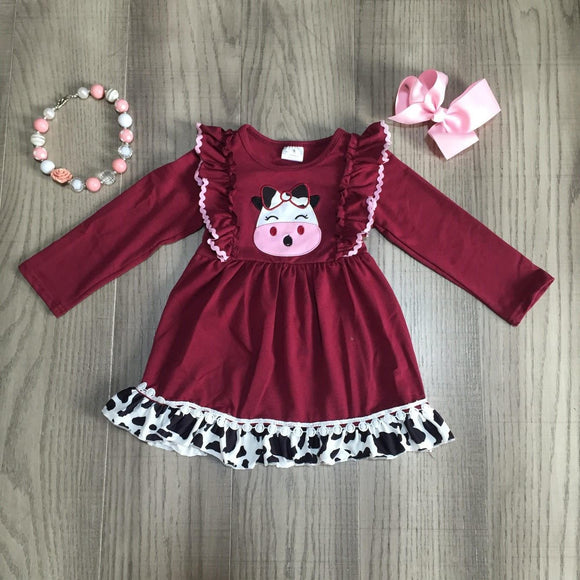 Burgundy Moo Cow Ruffle Detail Dress [NEW!]