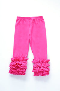 Solid Hot Pink ruffle Icing Pants for Girls/Kids CK-300069-1