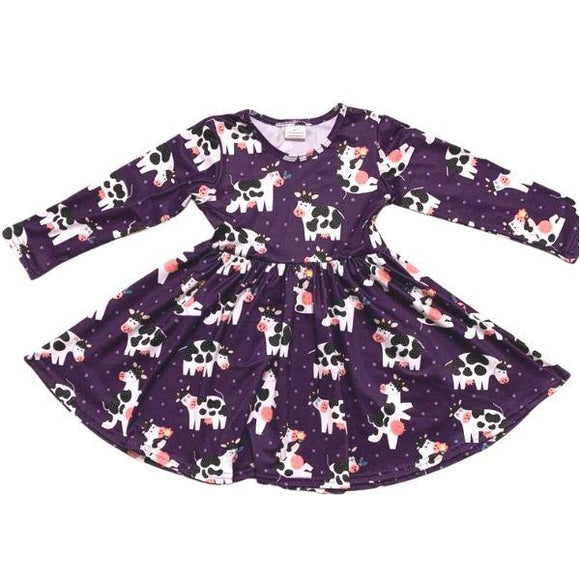 ComfyCute Twirl Dress - Purple Moo Cows
