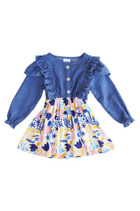 Denim top with floral print bottom dress CXQ-400818