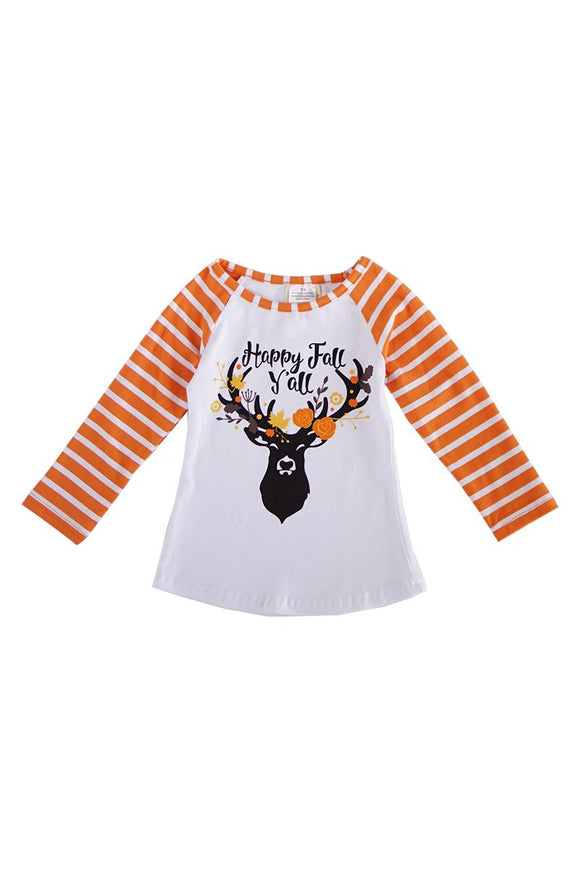 Happy fall yall reindeer stripe raglan top 202894