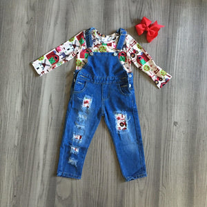Denim Overalls with Matching Shirt: Pink Farmkid [PREORDER]