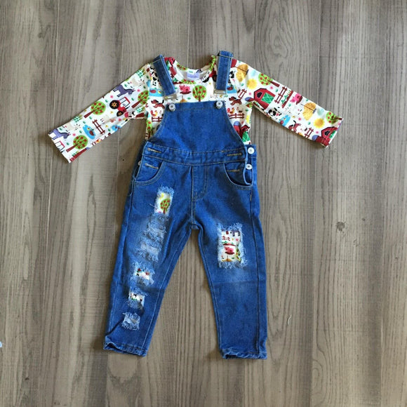 Denim Overalls with Matching Shirt: White Farmkid [PREORDER]