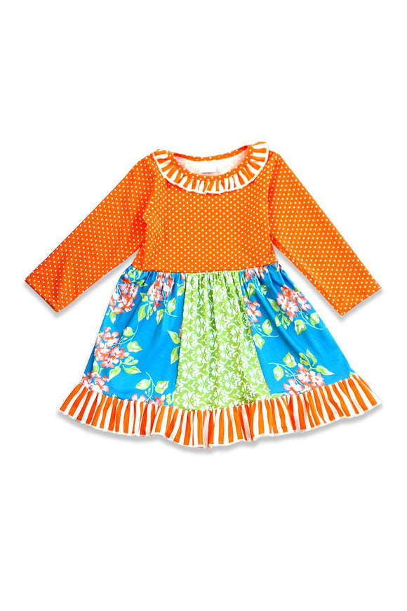 Ruffle Orange Green Floral Dress 080965 sale