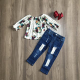 Floral Long Sleeve Denim Outfit [NEW!]