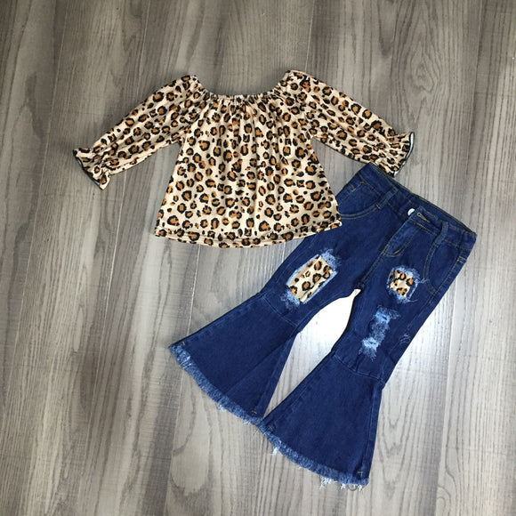 Brown Leopard Shirtwith Distressed Denim Bell Bottoms