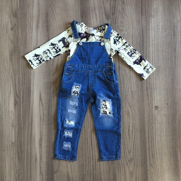 Denim Overalls with Matching Shirt: Black and White Moo [PREORDER]