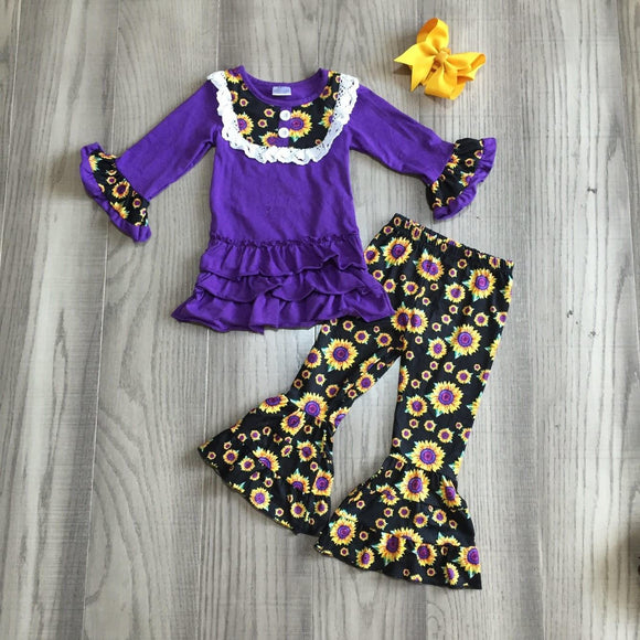 Purple Psychadelic Sunflower Tiered Ruffle Bell Bottoms Outfit