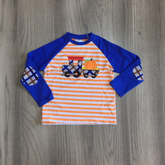 Pumpkin Train Applique and Elbow Patches Shirt [PREORDER]