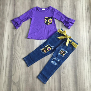 Purple Sunflowers Ruffle Sleeve Denim Outfit