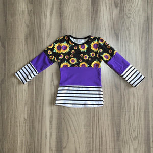 Purple Sunflowers and Stripes Shirt[NEW!]
