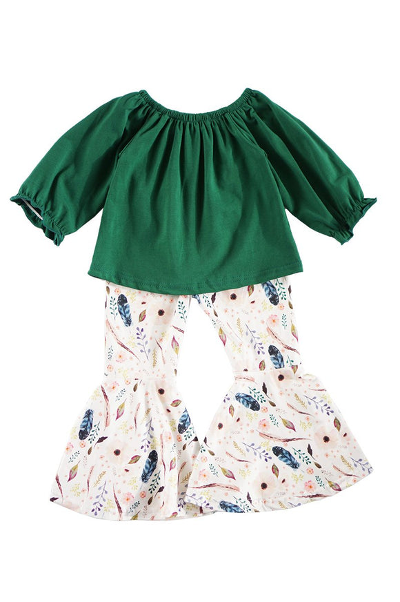 Teal top with floral feather bell pants set S1910140