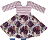 Perfectly Purple Striped Floral Dress [PREORDER]