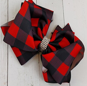 Red Plaid Sparkle Hairbow [PREORDER]