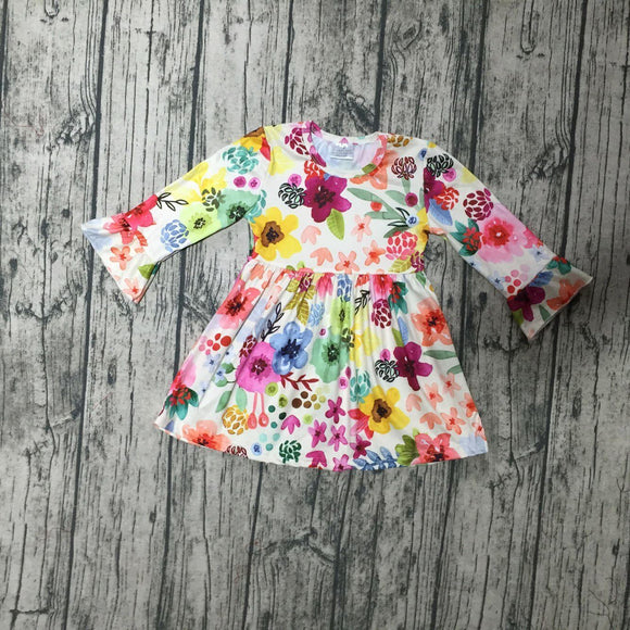 Watercolor Floral Ruffle Sleeve Dress