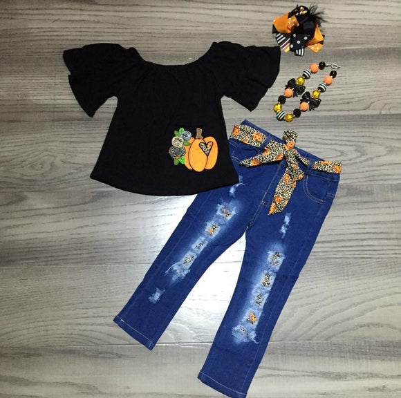 MONDAY SPECIAL #35 - wild pumpkin hearts denim outfit