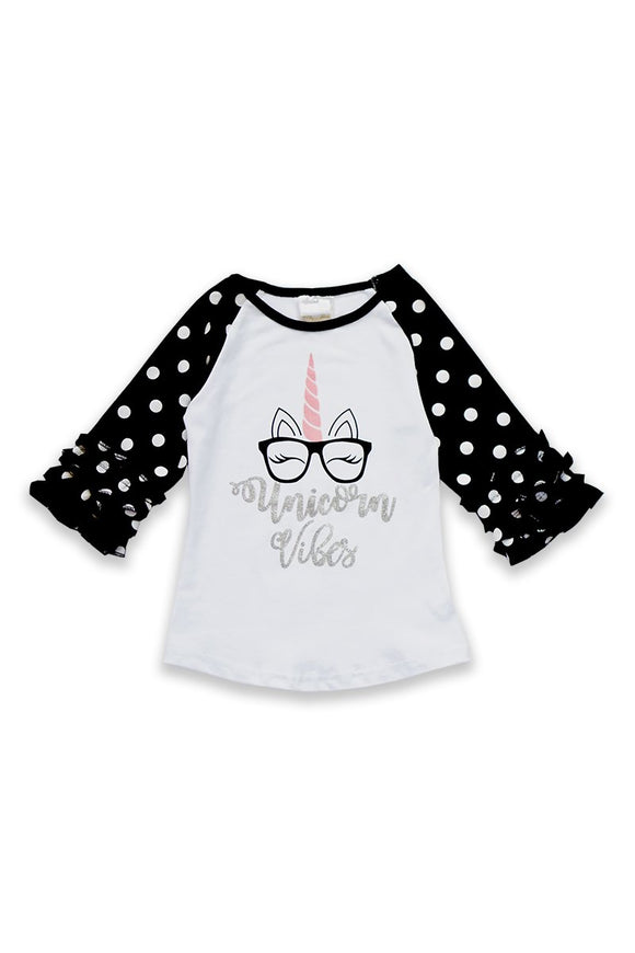 Unicorn Raglan Girls Top ZX-318448