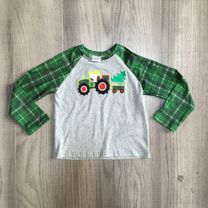 Green Plaid Tree Tractor Shirt [PREORDER]