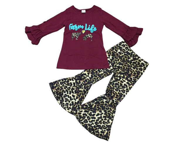 Farm Life Animal Print Bell Bottoms Outfit