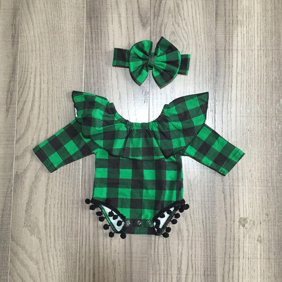 Green and Black Buffalo Plaid Romper [Preorder]