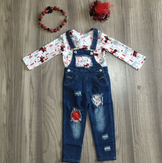 Denim Overalls with Matching Shirt: Buffalo Plaid Moose