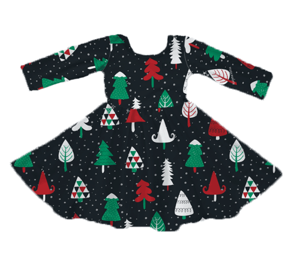 Holiday Twirl Dress - Merry Trees [PREORDER]
