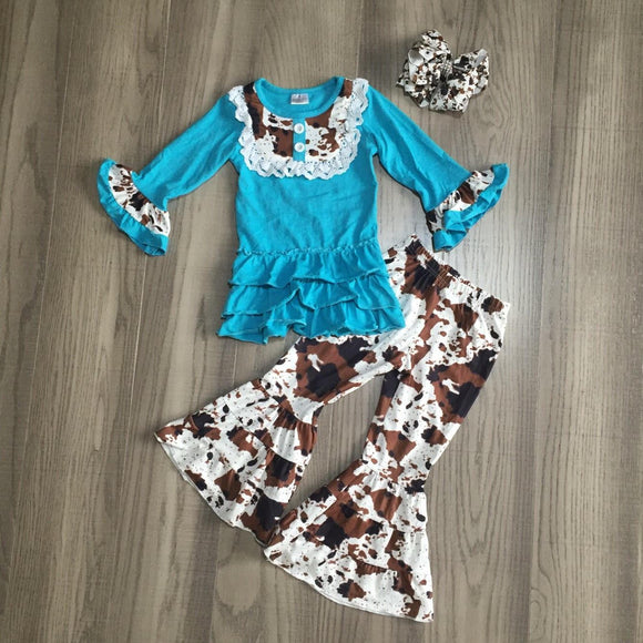 Teal Cowhide Tiered Ruffle Bell Bottoms Outfit