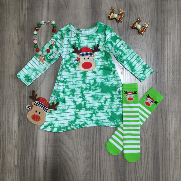 Green Reindeer Tie Dye Dress - Socks [PREORDER]