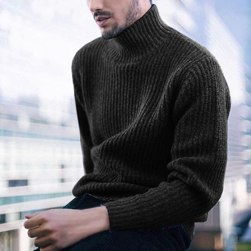 Mens Thicken Long Sleeve Knit Sweater