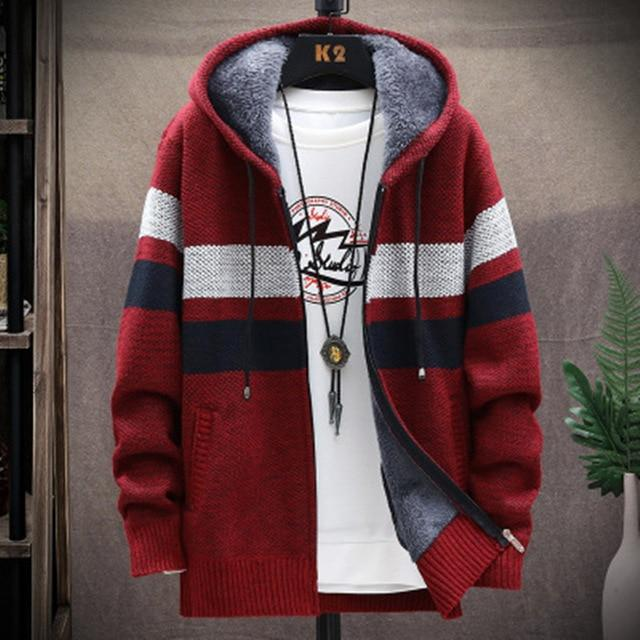 Men's Knitted thicken Hood Sweater Casual Keep warm Cardigan