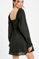 Load image into Gallery viewer, Black Puff Sleeve Dress