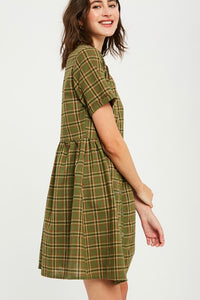 Green Plaid Button-Up Dress