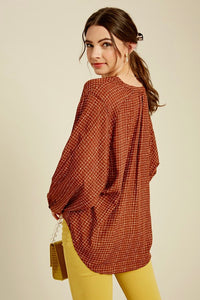 Brick Button-up Blouse