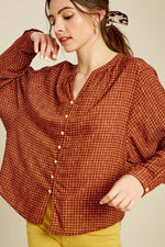 Load image into Gallery viewer, Brick Button-up Blouse