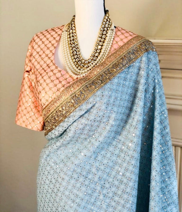 powder blue half and half saree with embroidered net and lukhnowi chikankari