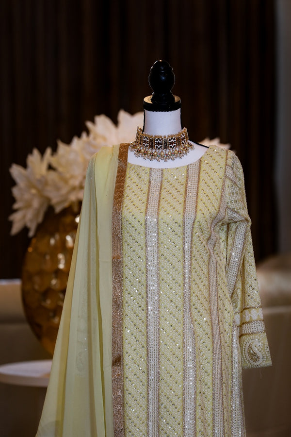 YELLOW CHIKANKARI KURTA SET