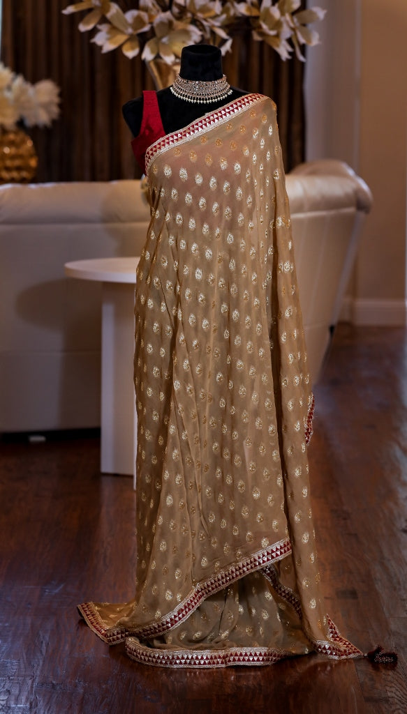 BEIGE BROCADE SAREE WITH MAROON BLOUSE