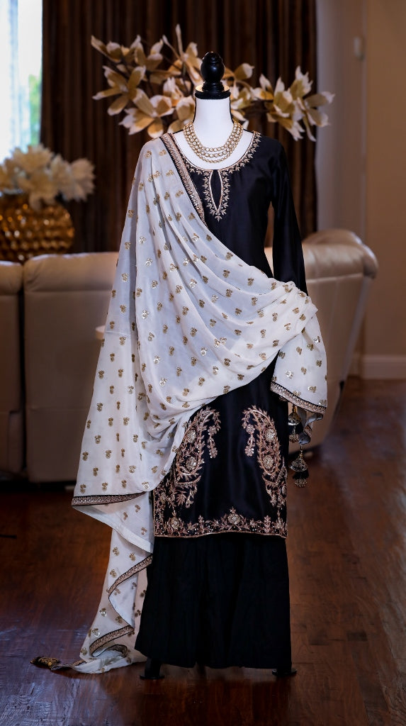 HAND EMBROIDERED ARI WORK BLACK CHANDERI SILK KURTA & SALWAR SET