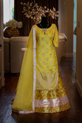 YELLOW BROCADE SHARARA SET