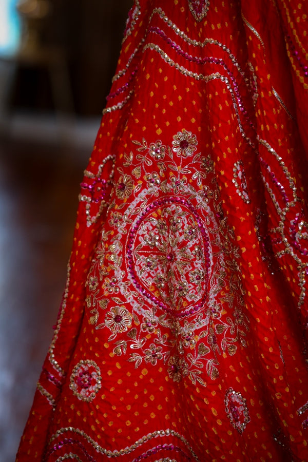 RED PURE GAJJI SILK BANDHEJ WITH OVERALL HAND WORK EMBROIDERY
