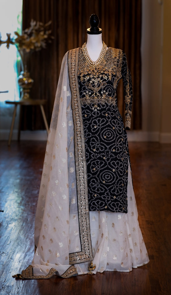 BLACK EMBROIDERED KURTA WITH OFF WHITE CHANDERI LEHENGA AND DUPATTA