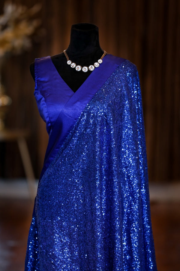NAVY BLUE SEQUIN SAREE WITH SATIN BLUE BLOUSE