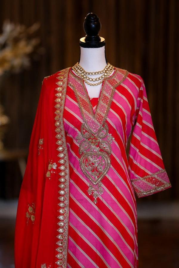 LEHEREYA PINK AND RED KURTA SET WITH DUPATTA